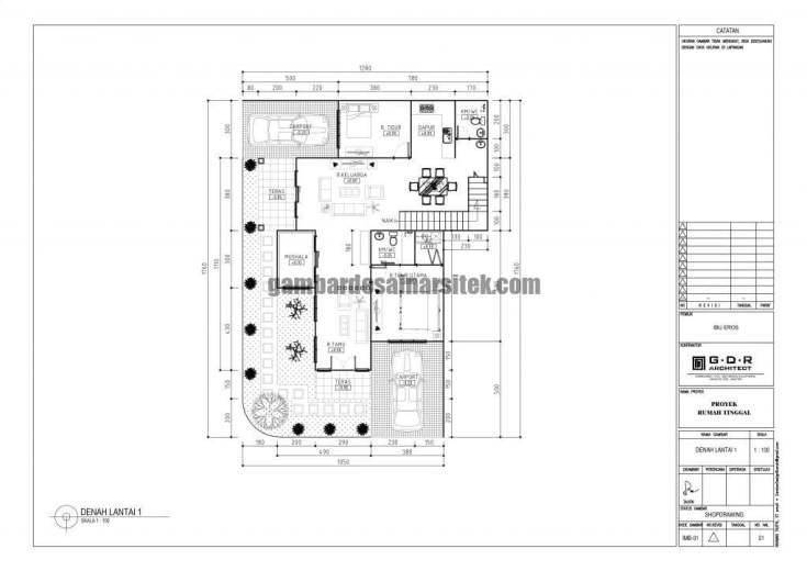 Denah Rumah Lantai 1 Ukuran Tanah 13 x 18 Meter 3