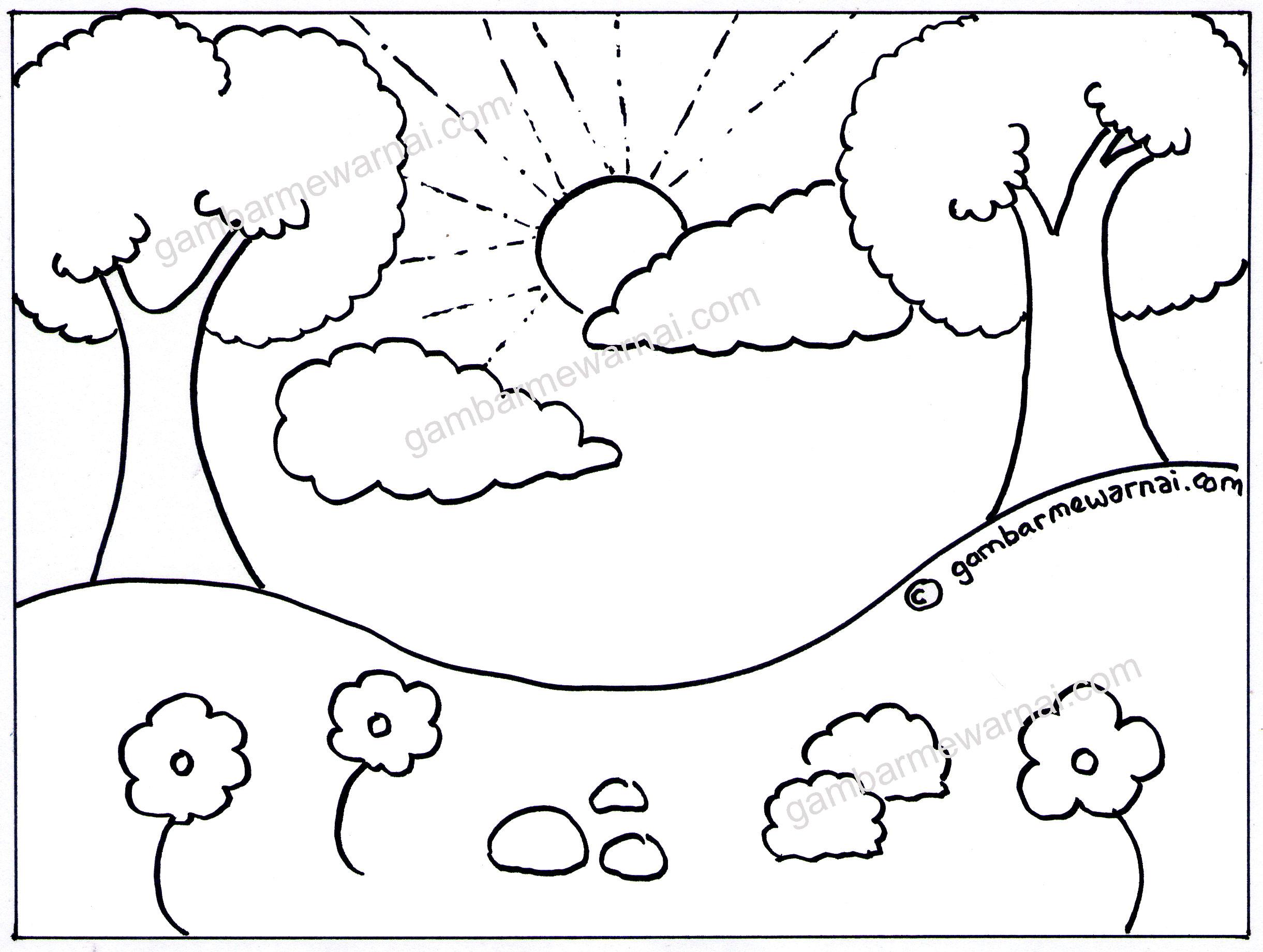 Gambar Pemandangan Sawah Kartun