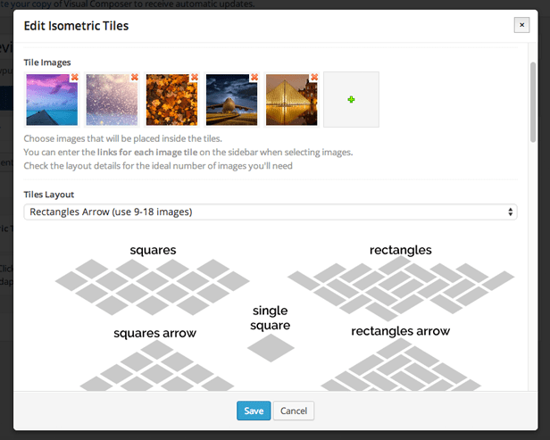 Edit properties window of Isometric Image Tiles in Visual Composer