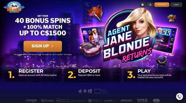 All Slots Casino Deposit Bonus : $1,500 + 40 Free Spins