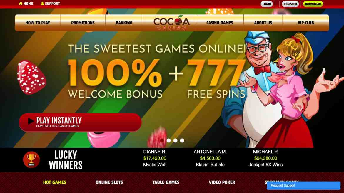Cocoa Casino – get 100% welcome bonus + 777 spins