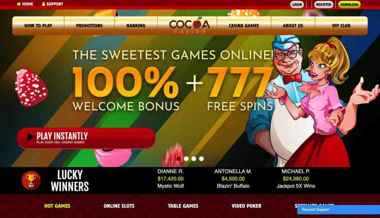 Cocoa Casino - get 100% welcome bonus + 777 spins