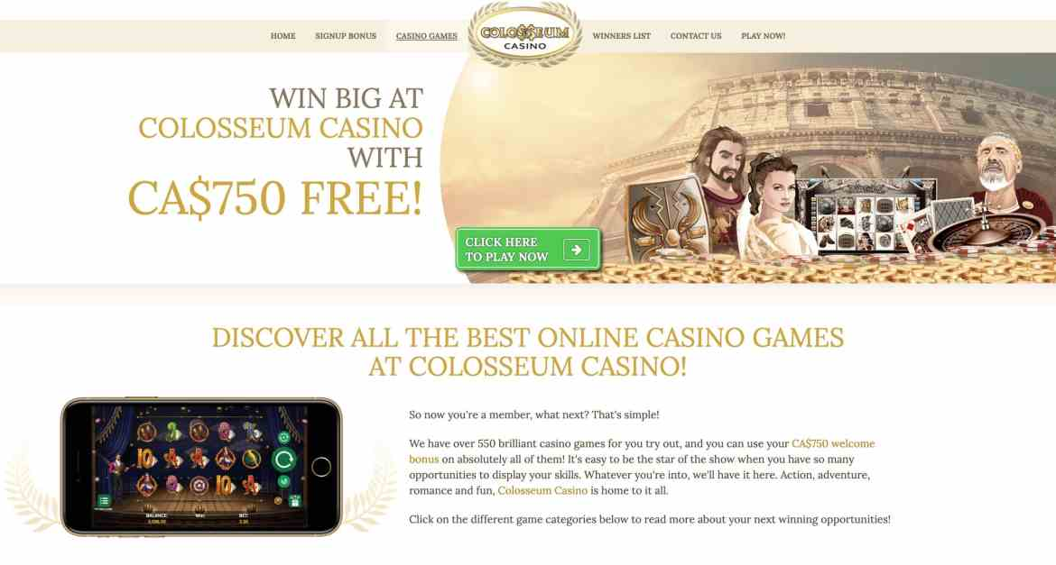 Colosseum Casino : get 250% match bonus up to $750 on 5 deposits