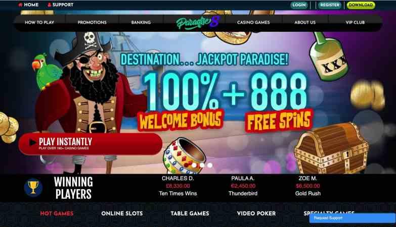Paradise 8 Casino - 888 free spins plus 100% match bonus