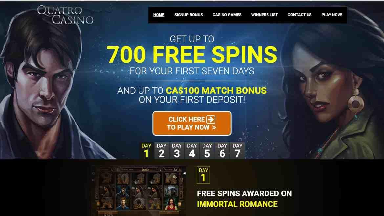 Quatro Casino : Get $100 Deposit Bonus + 700 Free Spins