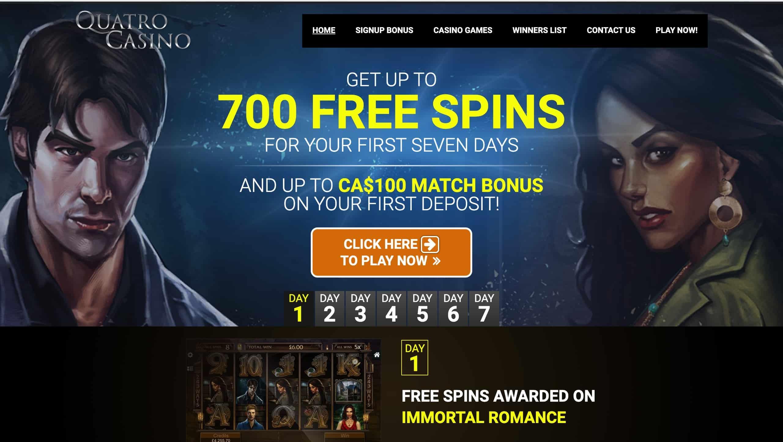 Quatro Casino Receive 700 Free Spins 100 Match Bonus