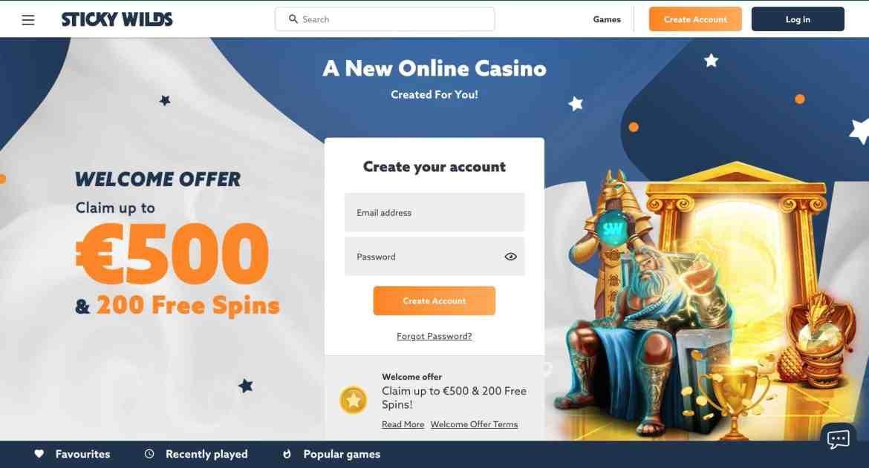StickyWilds Casino : get 275% deposit bonus up to €500 +200 Spins