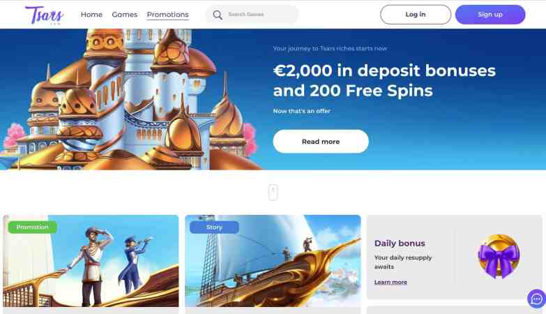 Tsars Casino Review : get 2,000€ deposit bonus + 200 free spins