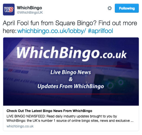 Above: Tweet (since deleted) by WhichBingo.co.uk