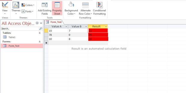 add automated calculation on access 2013