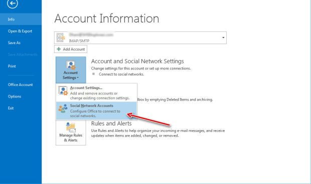 add social media network to ms outlook 2013