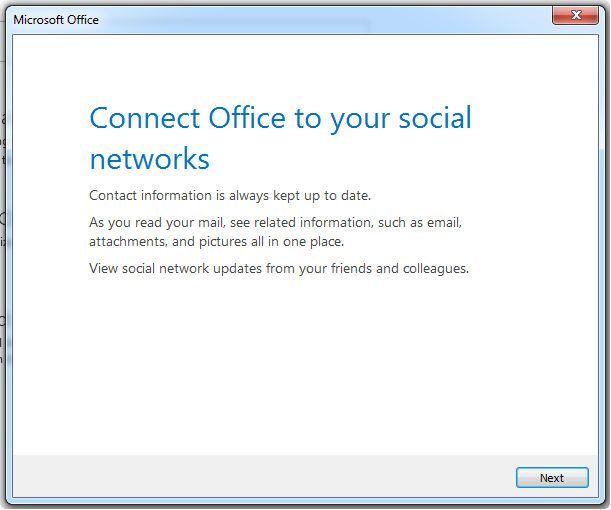 integrate facebook account to outlook 2013