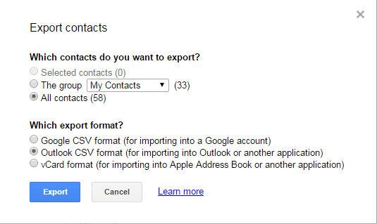 export gmail contact to csv