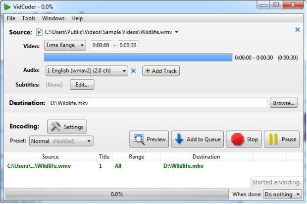 vidcoder video encoding in progress