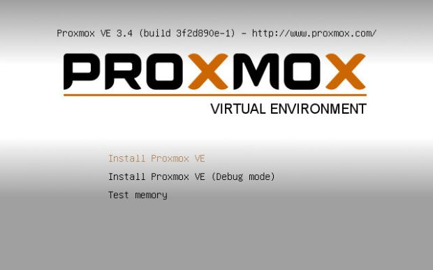 install proxmox 3.4 VE step 1