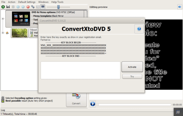 convertXtoDVD 5.3 activation