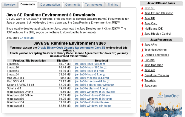 oracle java jre download