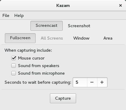 kazam on fedora 23 1