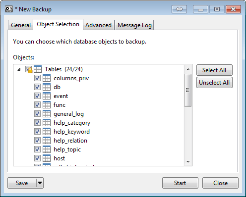 backup mysql database on navicat 4