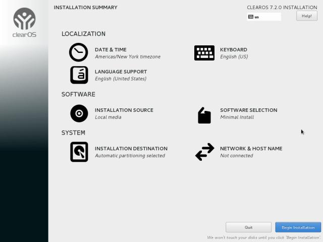clearos 7.2 installation 4