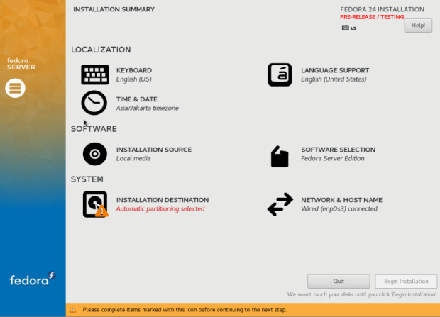 fedora 24 server install 3