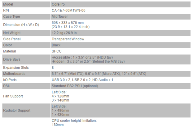 thermaltake core p5 specifications