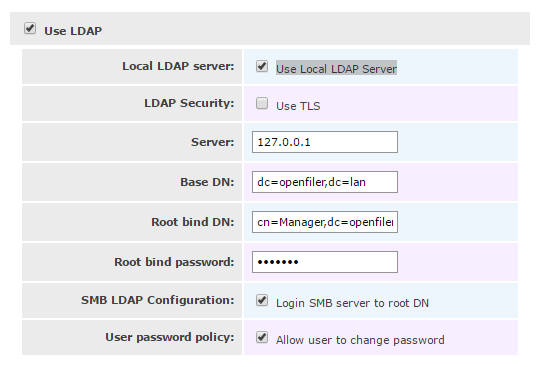 LDAP Settings openfiler