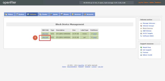Configure new hard disk on Openfiler 2 99 Server - Tutorial