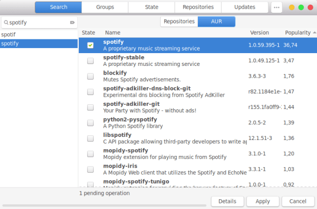 install Spotify on Manjaro