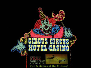 A giant clown welcomes you to Circus Circus