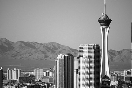 The Stratosphere rises over the Las Vegas Strip