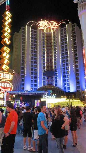 The Plaza is at the far end of Fremont Street