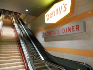The escalator that takes you to the main Denny's on the Las Vegas Strip