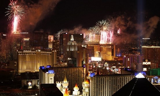 he view from the Skyfall Lounge at Delano Las Vegas