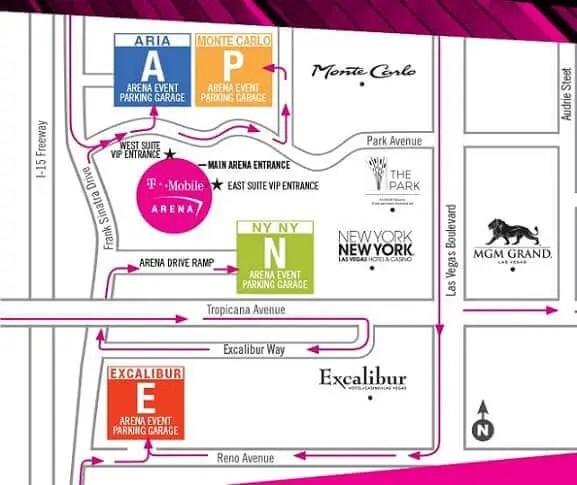 TMobile Arena Parking Fee in Las Vegas Map Valet Information