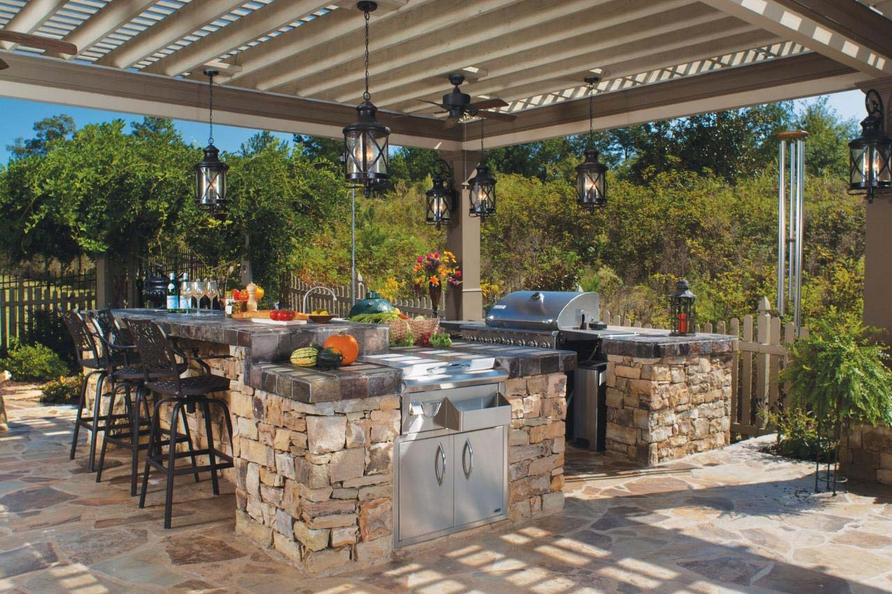 outdoor kitchen ideas rustic outdoor kitchen with arbor on kitchen design remodeling ideas better homes gardens id=81749