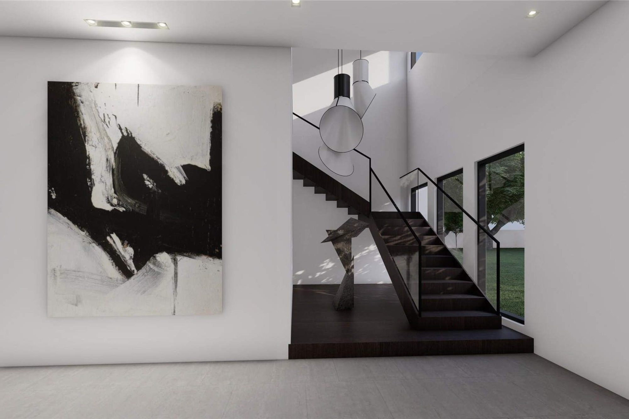 Modern Staircase Design Contemporary Stair Design Ideas   Black And White Stairs Design   Farmhouse   Photography   Concept   Disappearing   Grey Background