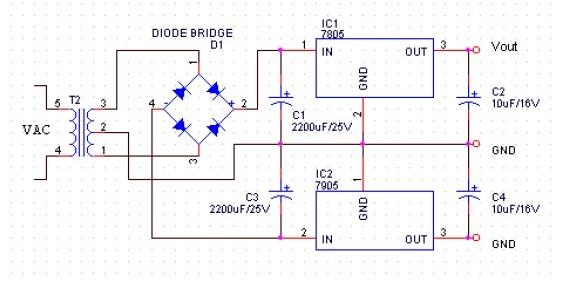 Power supply keluaran +5 dan -5 volt dengan menggunakan trafo CT
