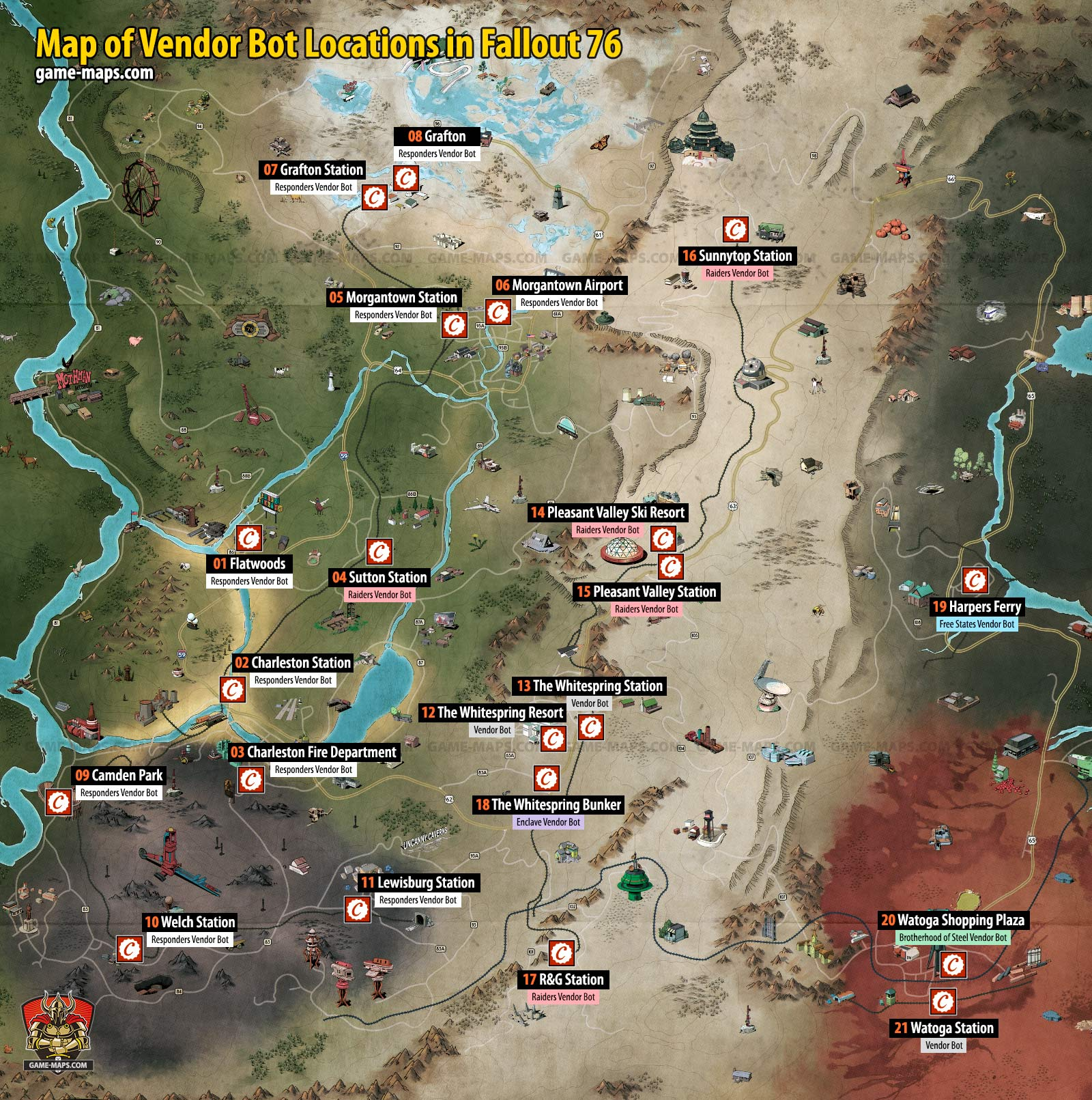 Vendor And Merchant Locations Map In Fallout 76 Game