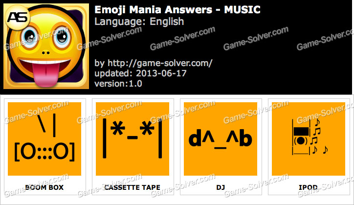 Emoji Mania Music Answers - Game Solver