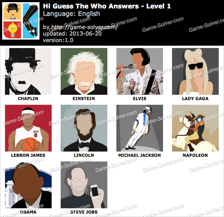 Hi Guess Who Level 1