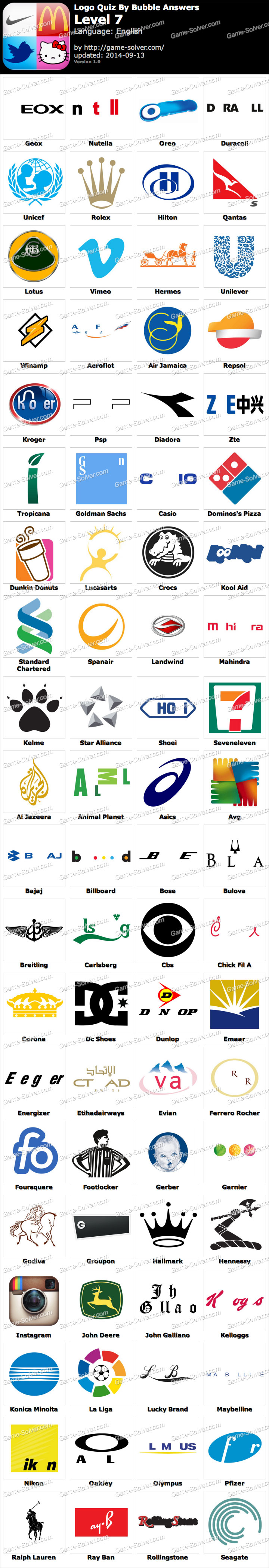 Logo Quiz By Bubble Answers Level 7