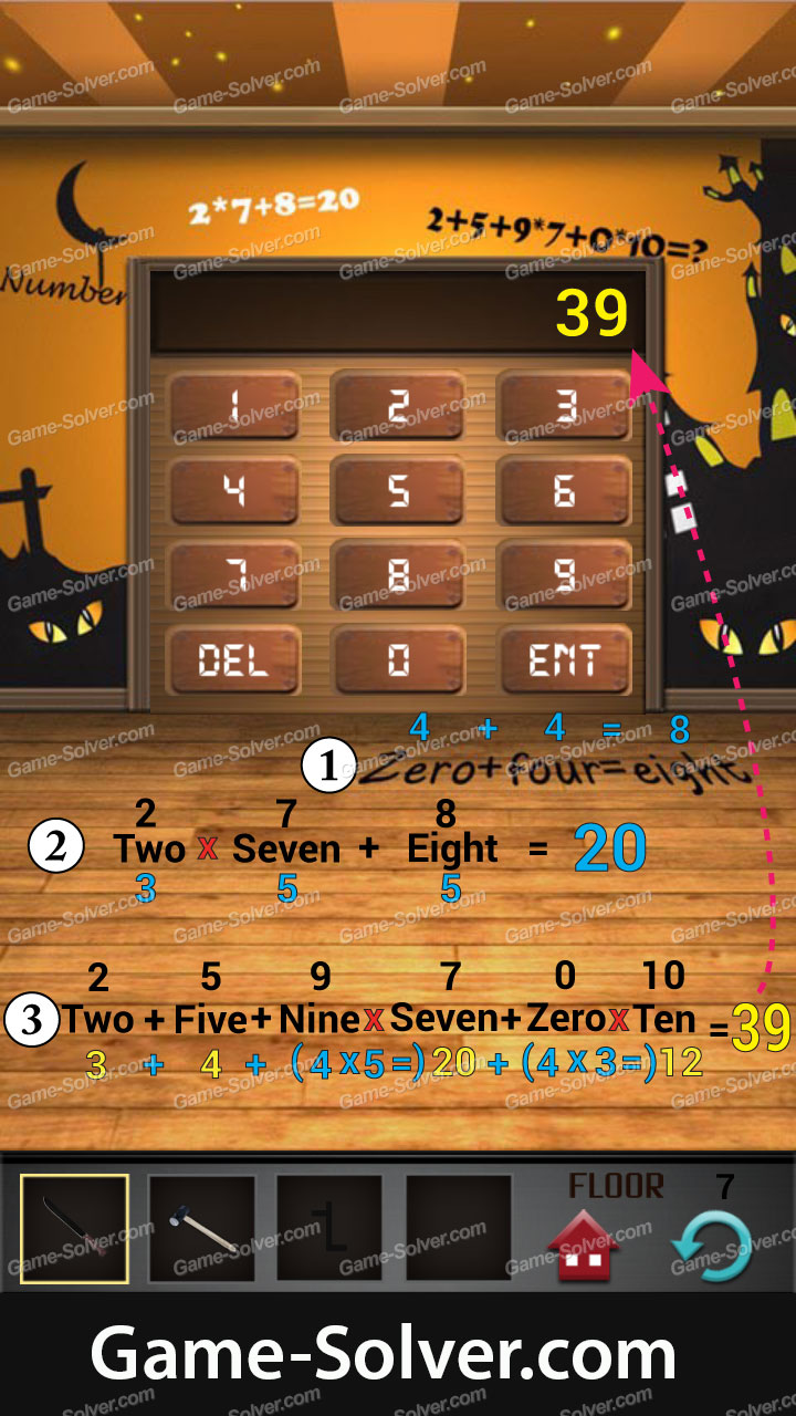 100 Floors Seasons Tower Halloween Level 7 Game Solver