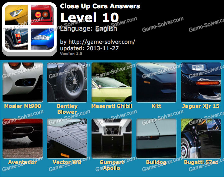 Close Up Cars Level 10