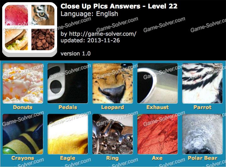 Close Up Pics Level 22 - Game Solver