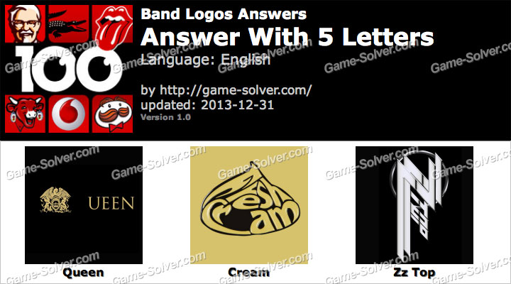 Band Logos 5 Letters