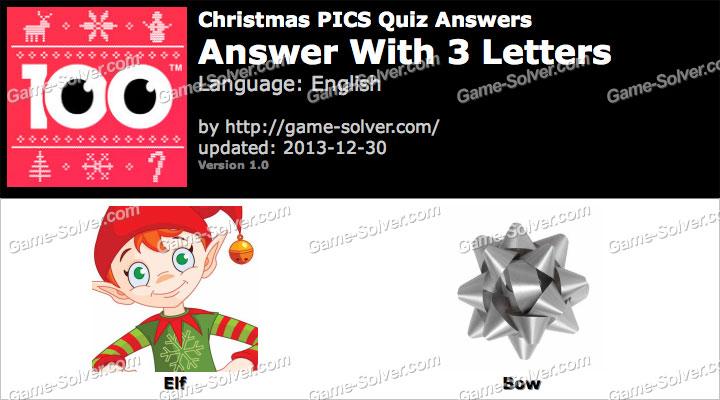 Christmas Pics Quiz 3 Letters