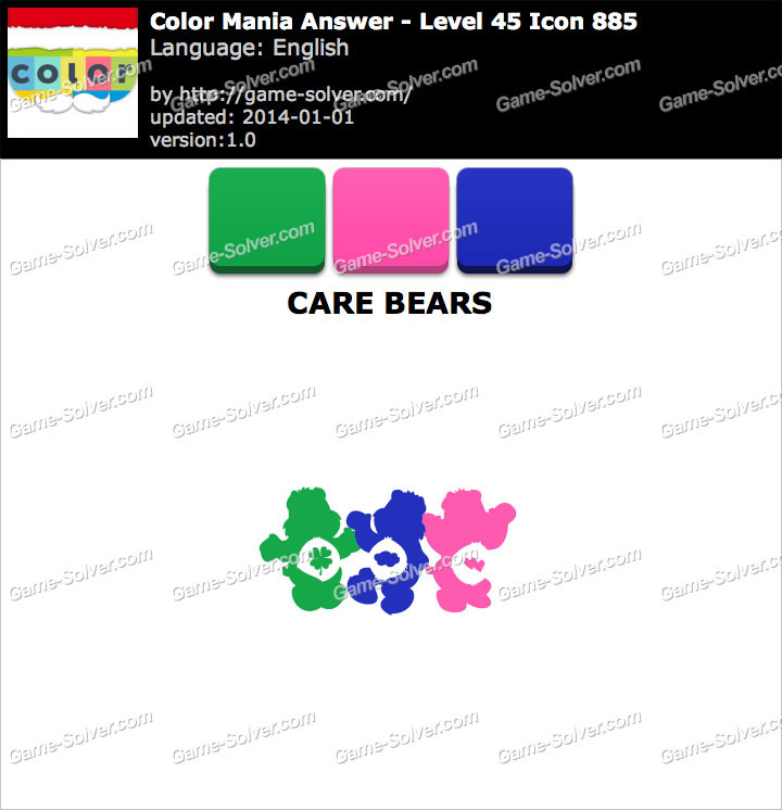 Colormania Level 45 Icon 885 CARE BEARS