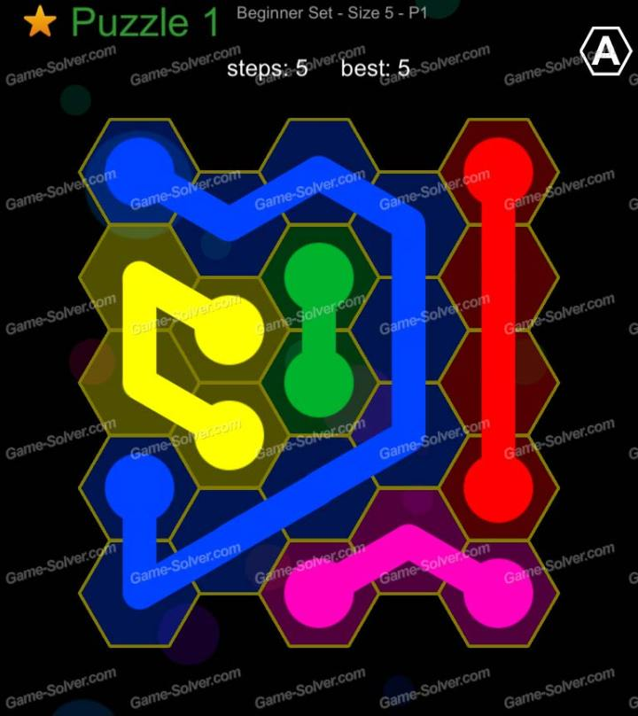 Hexic Flow Beginner Set Size 5 P1 Puzzle 1