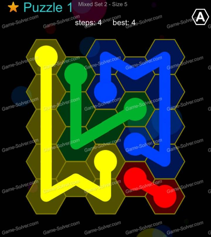 Hexic Flow Mixed Set 2 Size 5 Puzzle 1